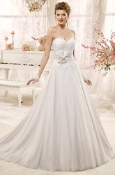 Sweetheart A-line Wedding Dress with Lace Bodice and Flowers