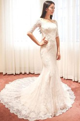 Mermaid Trumpet Off-the-shoulder Lace Zipper Wedding Dress