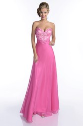 Sheer Sweetheart A-Line Chiffon Sleeveless Prom Dress With Jeweled Bodice