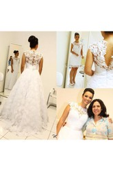 A Line High Neck Lace Button Zipper Wedding Gown
