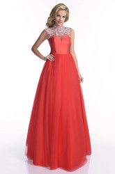 Tulle Cap Sleeve Floor Length Prom Dress With Sophisticated Jeweled Appliques