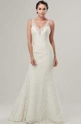 Mermaid Sleeveless V-Neck Appliqued Maxi Lace Wedding Dress With Beading