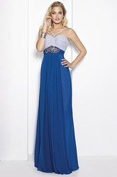 Sheath Ruched Floor-Length Empire Sleeveless Spaghetti Chiffon Prom Dress With Waist Jewellery