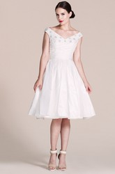 Cap-sleeved V-neck A-line Dress With Pleats and Beadings