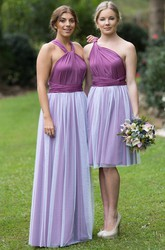 Knee-Length Ruched Halter Sleeveless Chiffon Bridesmaid Dress With Straps