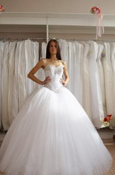 Sweetheart Tulle Ball Gown With Corset Bodice and Rhinestones