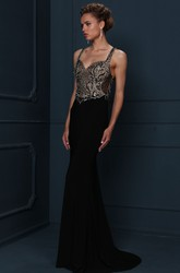 Long Beaded Jersey Evening Dress With Sweep Train And Straps