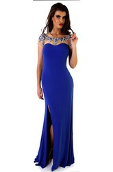 Sheath Long Cap-Sleeve Scoop Beaded Jersey Prom Dress With Straps And Split Front