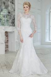 Mermaid Floor-Length Jewel 3-4-Sleeve Keyhole Lace Dress