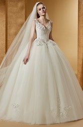 Chic V-Neck Beaded Ball Gown With Cap Sleeves And Lace-Up Back