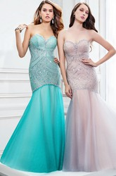 Mermaid Sleeveless Sweetheart Beaded Tulle Prom Dress