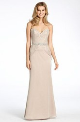 Floor-Length Spaghetti Jeweled Chiffon Bridesmaid Dress With Lace And V Back