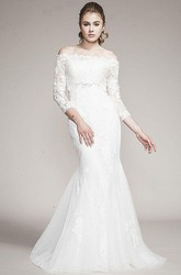 Mermaid Long-Sleeve Off-The-Shoulder Tulle&Lace Wedding Dress With Court Train