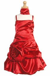 Cape Midi Floral Ruched Satin Flower Girl Dress With Ribbon