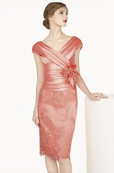 Satin V Neck Cap Sleeve Sheath Knee Length Lace Dress With Flower Shown In Blush