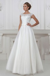 A-Line Cap-Sleeve Floor-Length Scoop-Neck Lace&Tulle&Satin Wedding Dress