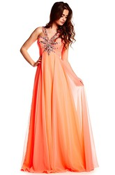 Floor-Length Sleeveless V-Neck Beaded Chiffon Prom Dress With Brush Train