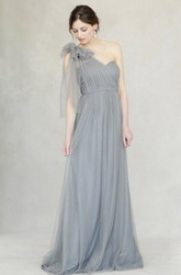 One-Shoulder Empire Sleeveless Floral Tulle Bridesmaid Dress With Straps