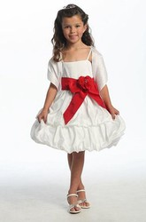 Floral Midi Cap-Sleeve Tiered Taffeta Flower Girl Dress With Cape