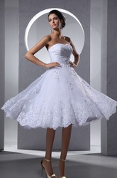 A-Line Crisscross Front Tea Length Lace Wedding Dress With Lace Appliques