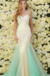 Muti-Color Mermaid Long Spaghetti Sleeveless Tulle Jersey Dress With Beading