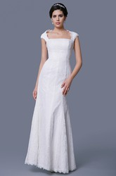 Sheath Square Neckline Cap-Sleeved Lace Wedding Dress With Keyhole Back