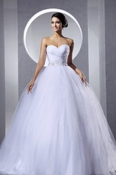 Criss-Cross A-Line Ruching Ball Gown Tulle Wedding Dress With Beaded Sash