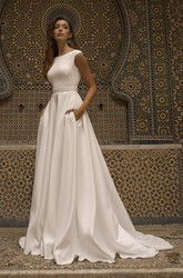 Satin Bateau Neckline With Cap Sleeve Elegant Wedding Dress With V-back And Sash Details