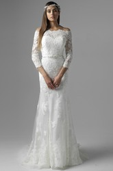 Off-The-Shoulder Jeweled 3-4 Sleeve Lace Wedding Dress