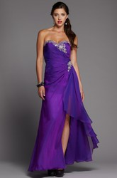 A-Line Sweetheart Sleeveless Backless Dress With Criss Cross And Beading