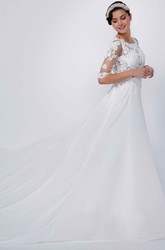 A-Line Appliqued Scoop-Neck Floor-Length Half-Sleeve Lace&Chiffon Wedding Dress