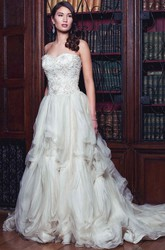 Ball Gown Sweetheart Sleeveless Floor-Length Rufflesd Tulle Wedding Dress With Beading