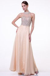 A-Line Floor-Length High Neck Sleeveless Satin Illusion Dress With Beading