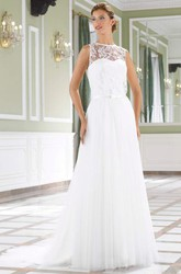 A-Line Lace Sleeveless Floor-Length Jewel Tulle Wedding Dress With Court Train And Illusion Back