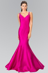 Mermaid Long V-Neck Sleeveless Satin Illusion Dress With Beading