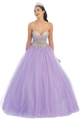 Ball Gown Sweetheart Sleeveless Tulle Backless Dress With Beading