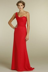One-Shoulder Sleeveless Ruched Chiffon Bridesmaid Dress With Brush Train