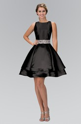 A-Line Short Scoop-Neck Sleeveless Satin Straps Dress With Waist Jewellery And Tiers
