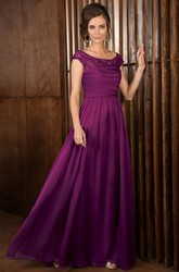 Cap-Sleeved A-Line Floor-Length Mother Of The Bride Dress With V-Back