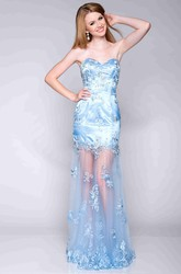 Appliqued Satin And Tulle Sheath Prom Dress With Sweetheart Neck