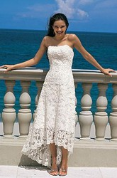 Gorgeous Summer A-line Strapless High-low Lace Wedding Dress