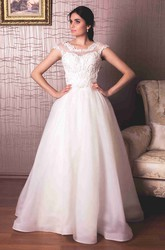 A-Line Long Scoop-Neck Cap-Sleeve Organza Wedding Dress With Appliques And Illusion