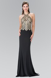 Sheath Floor-Length Halter Sleeveless Jersey Backless Dress With Appliques