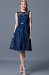 High Neck A-line Knee Length Lace Bridesmaid Dress with Keyhole Back