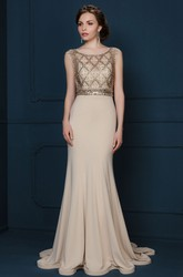Sheath Sleeveless Scoop-Neck Floor-Length Crystal Jersey Evening Dress With Pleats