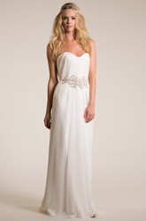 Sweetheart Maxi Jeweled Empire Tulle Wedding Dress With Sweep Train And V Back