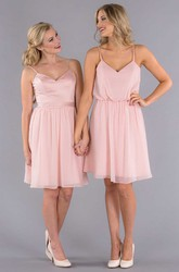 Knee-Length Sleeveless Ribboned Spaghetti Chiffon Bridesmaid Dress With Pleats