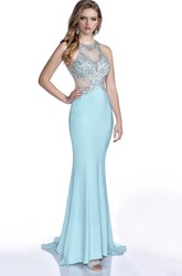 Trumpet Sleeveless Jersey Prom Dress With Bling Jeweled Bust