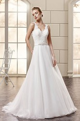 A-Line Floor-Length Appliqued V-Neck Sleeveless Lace&Satin Wedding Dress With Waist Jewellery