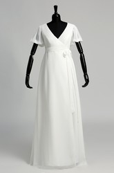 A Line Court Floor-length Pleats Sash Ribbon Chiffon Wedding Dress